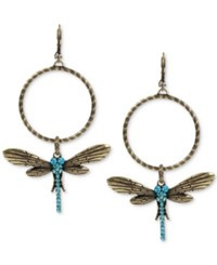 Betsey Johnson Gold Tone Blue Crystal Dragonfly Gypsy Hoop Earrings