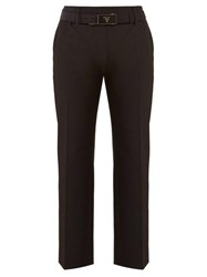 Prada Belted Cropped Crepe Trousers Black