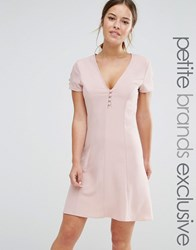 Alter Petite Button Front Short Sleeve Skater Dress Blush Pink