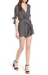 Lush Faux Wrap Tie Sleeve Romper Black White Stripe