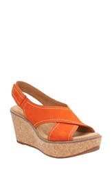 Clarksr Women's Clarks Aisley Tulip Platform Sandal Orange Nubuck Leather