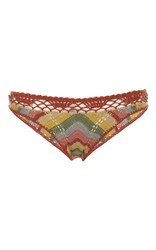 All That Remains Honey Chevron Striped Crochet Bikini Bottom Red Yellow Green