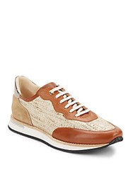 Aquatalia By Marvin K Noreen Mixed Media Sneakers Cuoio