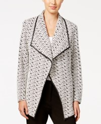 Calvin Klein Printed Open Front Jacket Black White