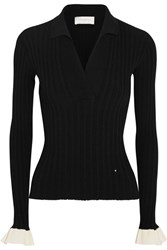 Esteban Cortazar Ribbed Stretch Knit Sweater Black