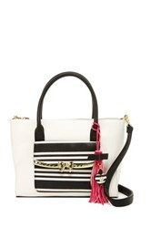 Betsey Johnson Metal Bow Flap Tote With Wristlet White