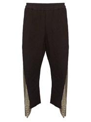 By Walid Burt Embroidered Panel Linen Trousers Black Green