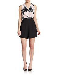 Romeo And Juliet Couture Sleeveless Printed Surplice Romper Black Pink