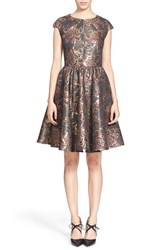 Women's Ted Baker London 'Laurey' Metallic Floral Jacquard Fit And Flare Dress