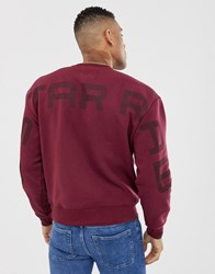 G Star Crew Neck Sweat With Exploded Back Logo Detail In Burgundy Port Red