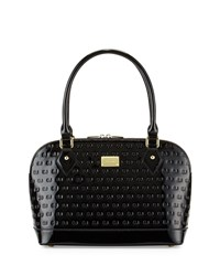 St. John Logo Embossed Patent Small Dome Satchel Bag Black