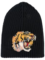 Gucci Tiger Ribbed Beanie Blue