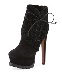 Alaia Side Lace Lamb Fur Platform Booties Black
