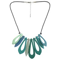 One Button Short Open Wood Link Necklace Green Turquoise