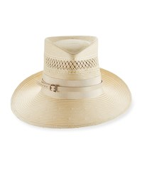 Philip Treacy Signature Trilby Hat W Band And Belt Ivory