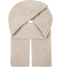 Johnstons Ribbed Cashmere Scarf Moondust