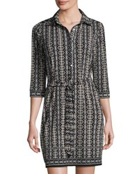 Max Studio Belted Stripe Print Jersey Shirtdress Blk Parch