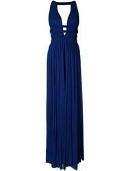 Jay Ahr V Neck Sleeveless Long Dress Blue