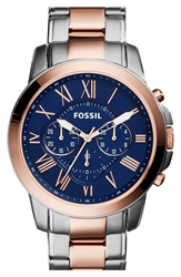 Fossil 'Grant' Chronograph Bracelet Watch 44Mm Silver Rose Gold Blue