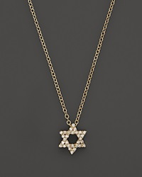 Meira T Diamond Star Of David Necklace In Yellow Gold .13 Ct. T.W 16