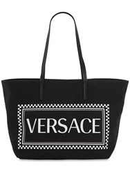 Versace Maxi Logo Printed Coated Canvas Tote Bag Black