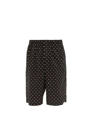 Balenciaga Bb Print Cotton Shorts Black White