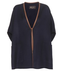 Loro Piana Miley Cashmere And Silk Cape Blue
