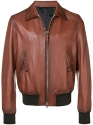 Tom Ford Classic Leather Jacket Brown