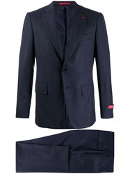 Isaia Striped Blazer Blue