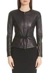 Emporio Armani Leather Peplum Jacket Black