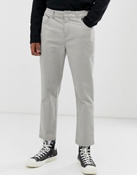 Asos White Tapered Cropped Trouser In Putty Heavyweight Fabric Beige