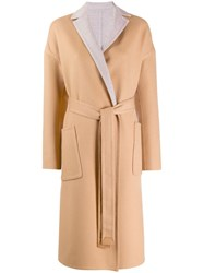 Loro Piana Belted Single Breasted Coat Brown