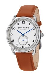 Stuhrling Men's Cuvette Leather Strap Watch Metallic