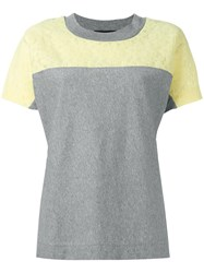 Boutique Moschino Lace Trim Colour Block T Shirt Grey