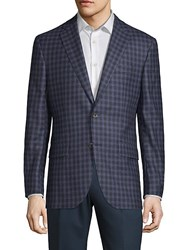 Jack Victor Conway Checkered Wool Jacket Navy