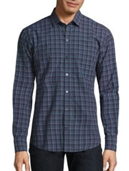 Zachary Prell Plaid Button Front Shirt Blue