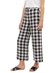 Jaeger Linen Gingham Cropped Trousers Black White