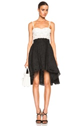 Zuhair Murad Embroidered Bustier Dress In Black Floral White