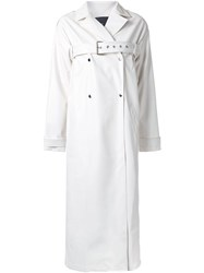 N Duo Belted Double Breasted Coat White