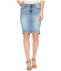 Kut From The Kloth Connie Hi Low Skirt In Dashing Dashing New Vintage Base Wash Women's Skirt Blue
