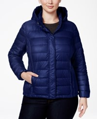 32 Degrees Plus Size Hooded Packable Down Puffer Coat Eclipse Shiny Melange