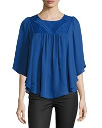 Neiman Marcus Angel Embroidered Yoke Top Blue