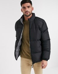 Brave Soul Padded Reversible Jacket In Black And Prince Of Wales Check