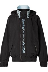 Opening Ceremony Embroidered Crinkled Shell Track Jacket Black
