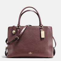 Coach Brooklyn Carryall 34 In Pebble Leather Light Gold Oxblood