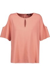 Raoul Cold Shoulder Cutout Crepe Blouse Antique Rose