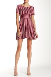 Iris Striped Fit And Flare Dress Pink