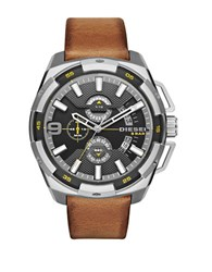 Diesel Dz4393 Heavyweight Stainless Steel And Leather Watch Tan