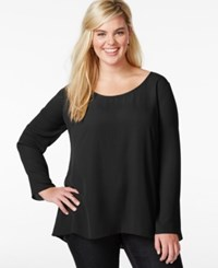 Ing Plus Size Solid Open Back Top Black