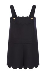Red Valentino Scalloped Tank Romper Navy